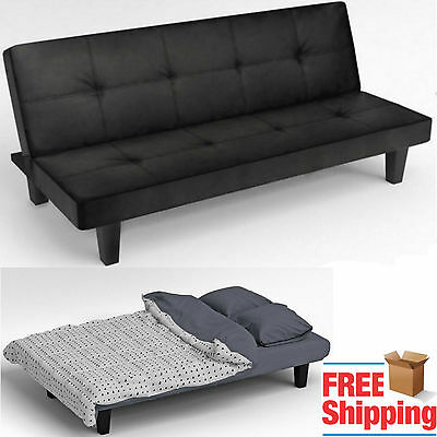 Click Clack Sofa Bed Black Faux Leather 2 - 3 Seater Modern Settee Double Couch