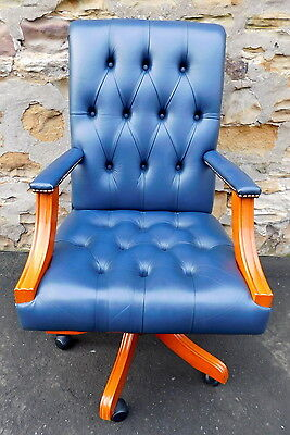 Blue Leather High Back Chesterfield Reclining Swivel Office Chair