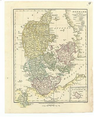 Antique Map of 1808 Denmark by Robert Wilkinson