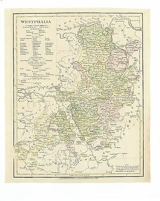 Antique Map of 1808 Westphalia by Robert Wilkinson