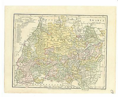 Antique Map of 1802 Swabia (southwestern Germany) by Robert Wilkinson