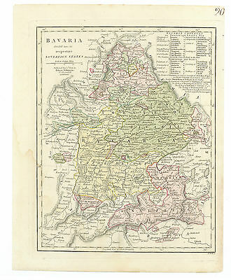 Antique Map of 1806 Bavaria by Robert Wilkinson