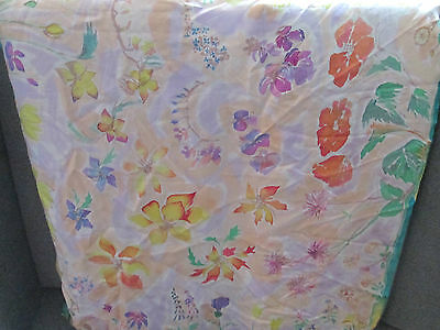 Large Vintage Hand Painted Floral Silk Scarf