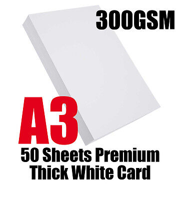 A3 Premium 300gsm Thick White Card 50 sheets for copying and printing uncoated