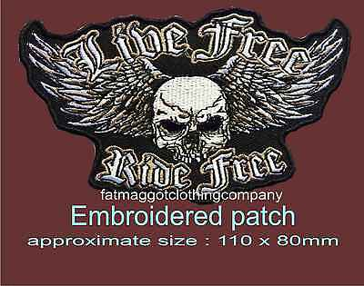 Live Free Ride Hardcore Biker patch Iron on Embroidered Patch applique #1602