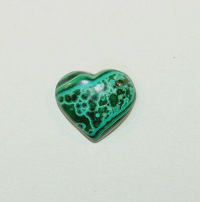 Malachite and Chrysocolla Heart Cabochon 16x15mm with 5mm dome  (9714)