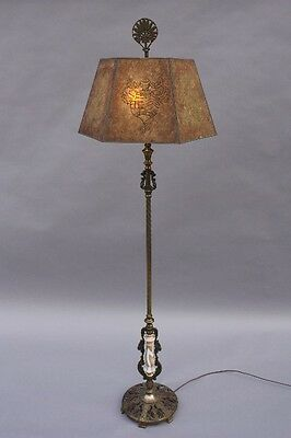 Circa 1920s Antique Large Scale Floor Lamp Light Mica Shade Ornate Base (8706)