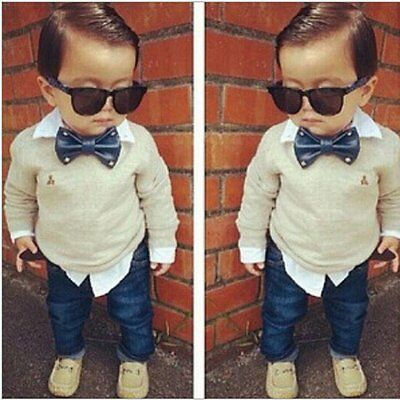2pcs Toddler Baby Boys Gentleman Coat Tops+Denim Pants Set Kids Clothes Outfits