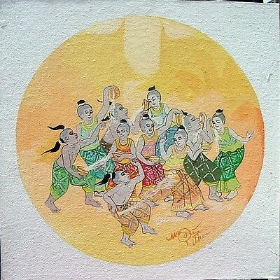 Thai Painting Song Kran ACRYLIC HAND PAINTED ON CANVAS HOME DECOR Office Decor
