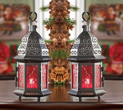"2 RED Moroccan Candle holder 10"" tall Lantern terrace outdoor garden patio table"