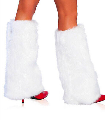 White Faux Fur Legwarmer Santa Claus Costume Accessories Leg Warmer