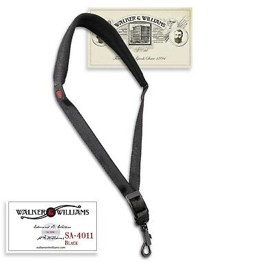Walker & Williams SA-4011 Black Nylon Padded Saxophone Strap