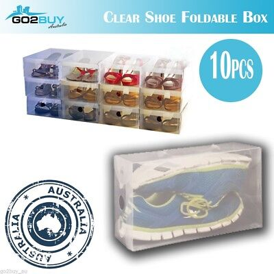 10X Clear Plastic Shoe Storage Box Foldable Boxes Stackable Travel Organizer