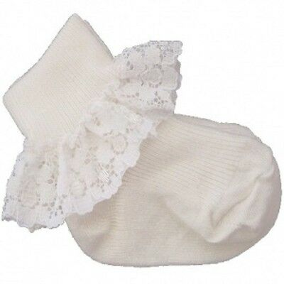 NEW BABY GIRLS CHRISTENING / WEDDING special occasion SOCKS - Ivory lace trim