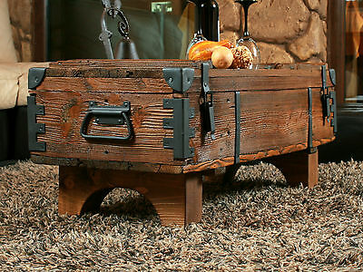 OLD TRAVEL TRUNK Coffee Table Cottage Steamer Trunk Pine Vintage CHEST
