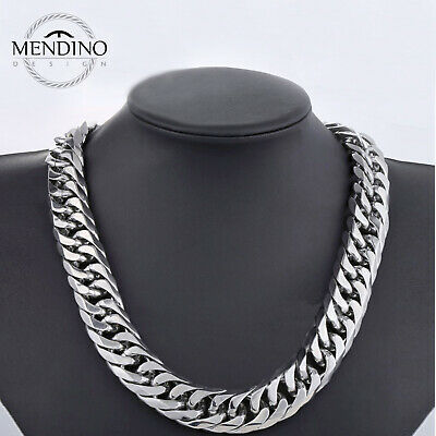 MENDINO Heavy Men's 316L Stainless Steel Necklace Curb Link Chain Rhombus 22mm