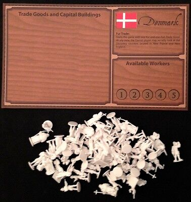 Empires: Age of Discovery - Denmark Player Board and White Figures