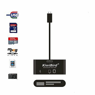 KiwiBird® Micro USB OTG Adapter, SD/Micro SD/TF card reader with female USB 2.0