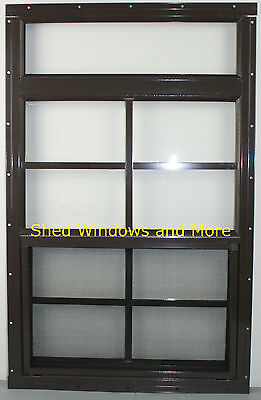 """Shed More View Window 18"""" x 29"""" Brown Flush Playhouse Window Shed Treehouse"""