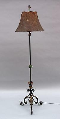 1920s Floor Lamp Tall Iron Light w Colorful Floral Gilded Acanthus Base (5263)