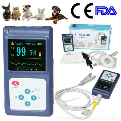 US Seller Veterinary pulse oximeter Handheld SPO2 Pr monitor Vet Tongue Probe+SW