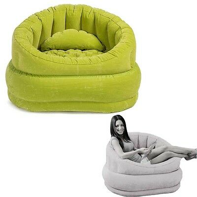 Green Inflatable Air Blow Up Arm Chair Couch Sofa Seat Lounge Armchair Portable