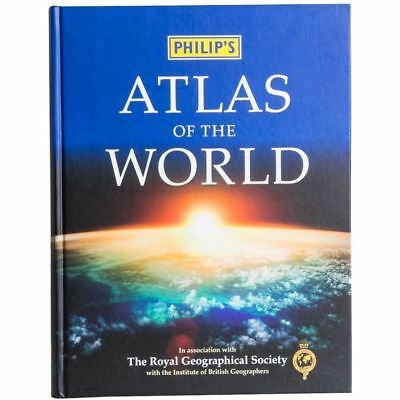 Philip's World Atlas Hardcover Book Geography Countries Cities Map Maps 2014