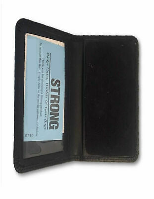 Black Leather Bi-Fold Shield Badge Wallet/Case with ID Card Window Holder Police