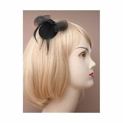 Ladies Girls Mini Black Hat Fascinator on a Hair Clip with Net Feather Bow Rose