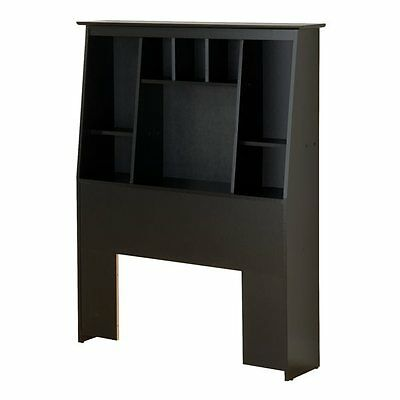 Prepac Furniture BSH-4556 Platform Storage Twin Tall Slant-Back Bookcase Headboa