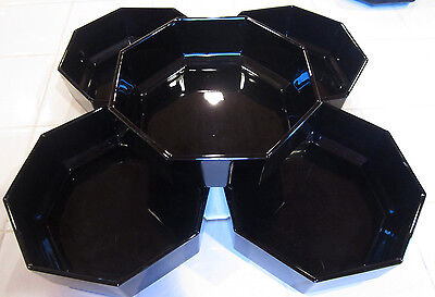 Vintage Black Arcoroc France octime soup/cereal bowls buy set of 4
