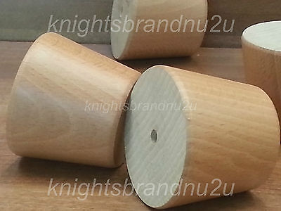 4x PRE DRILLED NATURAL FURNITURE FEET/LEGS - CABINETS, SETTEE, BEDS, BOOKSHELVES