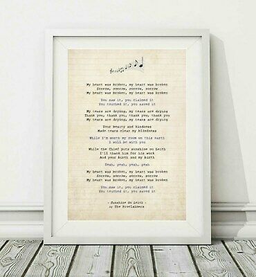 043 The Proclaimers - Sunshine On Leith - Song Lyric Poster Print - Sizes A4 A3