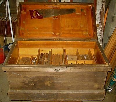 Early New England Carpenters Tool Chest with tools