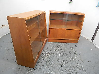 PRICE PER CASE,two,vintage,1970's,oak,bookcases,glazed,sliding doors,shelves
