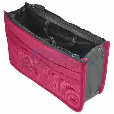Women Insert Handbag Bag in Bag Purse Large liner Organizer Bag Travel Hot Pink