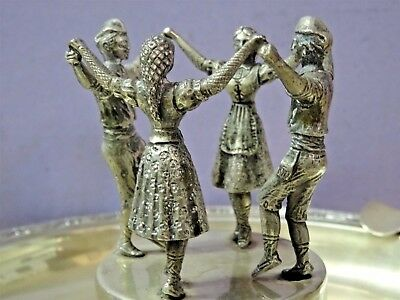 big ashtray with 4 folk dancers figurine  spain antique silver 420 grams 22.5 cm