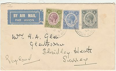 British Honduras 1934 Kgv Airmail Cover To England