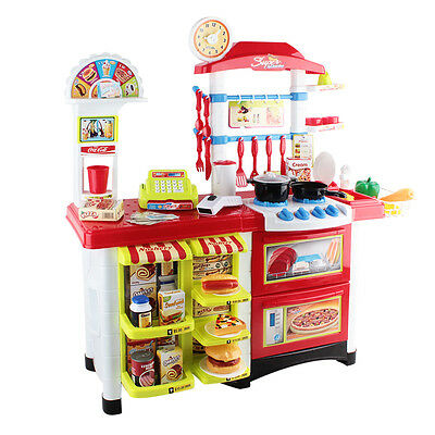 Kitchen Supermarket Pretend Play Set Red White Kids Childrens Toys