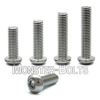 M8 - 1.25  Stainless Steel Button Head Socket Cap Screws Metric ISO 7380 A2 18-8