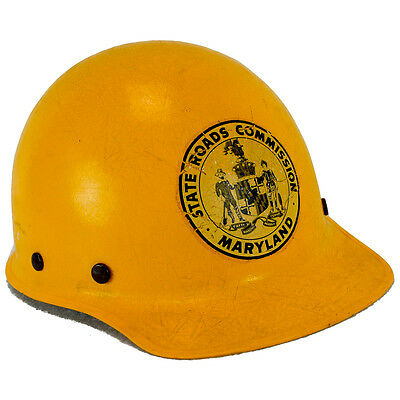 Vintage Maryland State Road Commission Hard Hat Cap Fiberglass Old Yellow MSA