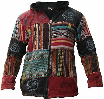 Out Stitched Mens Fleece Lined Rusty Brushed Looks Festival Hoodie Hippie Jacket