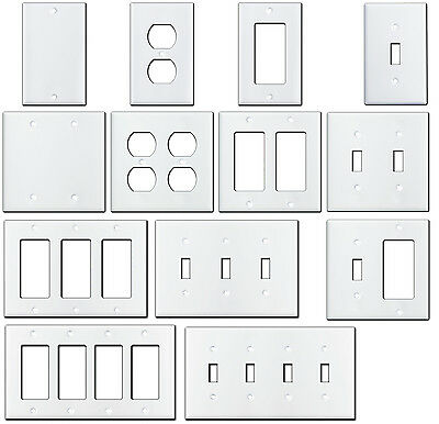 Smooth Gloss White Metal Wall Plate Covers Switch Plates & Outlet Covers