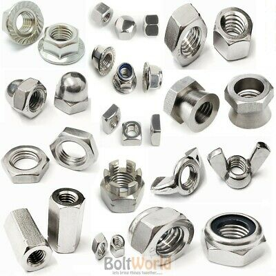 A2 Stainless Steel Full, Wing, Dome, Flange Nyloc, Shear Nuts Stud Hex Connector