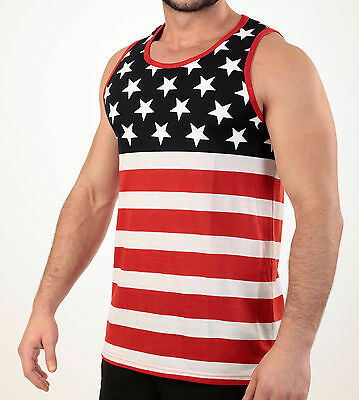 Men's Usa. Flag Tank Top American Pride Stars And Stripes Sleeveless Tee Shirt