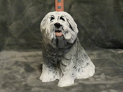 Old English Sheepdog Plaster Dog Statue Hand Cast And Painted By T.c.schoch