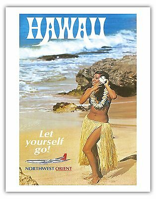 Northwest Orient Airlines HAWAII Hula 1960s Vintage Travel Poster Fine Art Print