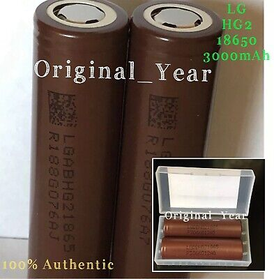 2 LG HG2 18650 3000mAh High Drain 20A Rechargeable Battery Flattop Free Case
