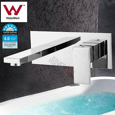 Wall Brass Watermark Square Silver Basin sink Bath Spa Spout Mixer Tap faucet