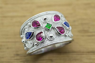 Byzantine Ring-Rubies,Emeralds,Sapphires 925 Sterling Silver-Etruscan GREEK ART